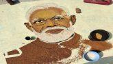 अनाज से बनाया प्रधानमंत्री का चित्र